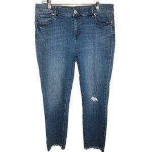 Loft Distressed Skinny Raw Hem Five Pockets Jeans